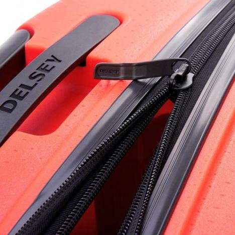 چمدان دلسی مدل BELMONT PLUS سایز کابین قرمز رنگ- زیپ اصلی در حالت باز