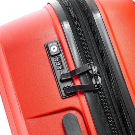 چمدان دلسی مدل BELMONT PLUS سایز کابین قرمز رنگ- زیپ اصلی در حالت بسته
