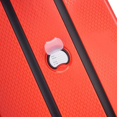چمدان دلسی مدل BELMONT PLUS سایز متوسط قرمز رنگ- برچسب نام و آدرس