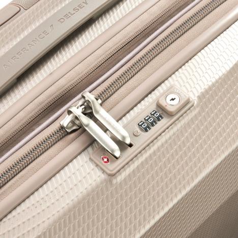 چمدان دلسی مدل 100482117 نمای قفل و زیپ از نزدیک