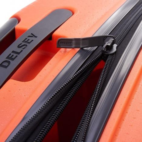 چمدان-دلسی-مدل-belmont-plus-نارنجی-386180425-نمای-زیپ-باز-شده