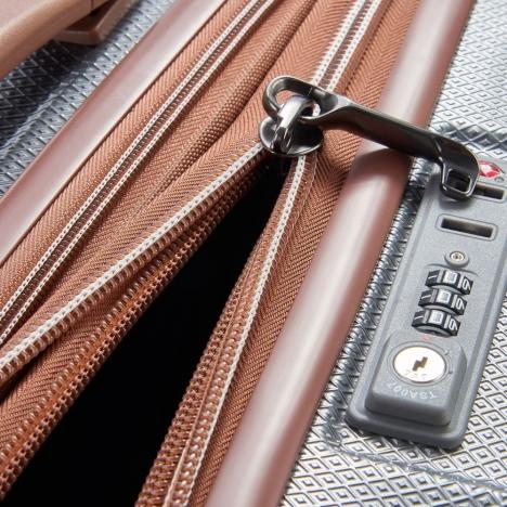 چمدان-دلسی-مدل-st-tropez-خاکستری-208783011-نمای-زیپ-باز